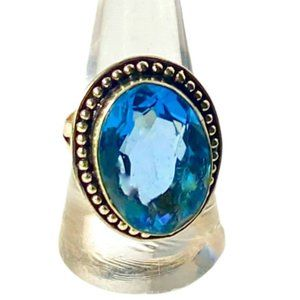Swiss Blue Topaz Gemstone in 925 Stamped Ring